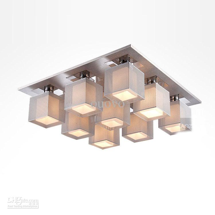 Modern Square Aluminum Boxes Living Room Ceiling Light Stainless – Modern Ceiling Lights for Dining Room