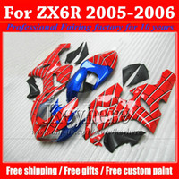ABS For Kawasaki 2006 Customize blue red black motorcycle parts for KAWASAKI 2005 2006 ZX 6R Ninja plastic moto fairings kit ZX6R 05 06 ZX-6R with 7 gifts gk14