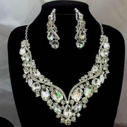 Wholesale Crystal Rhinestone Wedding Bridal Party Tear Drop Earring Necklace Jewelry Set