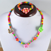 Wholesale China Wholesale Clothing For Children - Children Necklaces Beads Flower Necklace For Girls Children Jewelry Set Gift Collocation Baby Clothes 24Sets lot Free Shipping KD006