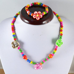 Wholesale Children Necklaces Beads Flower Necklace For Girls Children Jewelry Set Gift Collocation Baby Clothes Sets KD006