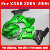 Cheap High grade moto fairing kit for KAWASAKI 2005 2006 ZX 6R popular green black motobike parts Ninja ZX6R 05 06 ZX-6R with 7 gifts gk24