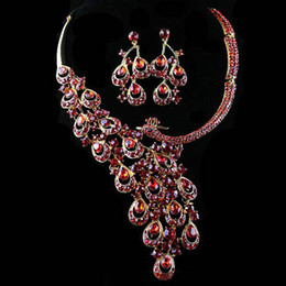 Wholesale Auspicious birds Bridal Crystal Rhinestone Wedding Bridal Party Tear Drop Earring Necklace Jewelry Set color