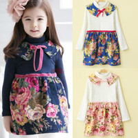 Wholesale Fashion Velvet Dresses Children Clothing Long Sleeved Dress Flower Dresses Child Dress Girls Cute Bowknot Printed Collar Dresses Kids Wear