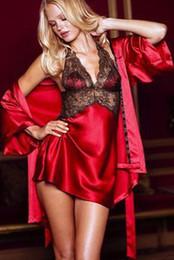 Wholesale Elegant Women Sleepwear Silk Lace Dress Nightgowns Red Black Purple Pajamas Sleepcoat Nightclothes Nightsuit set AMY8