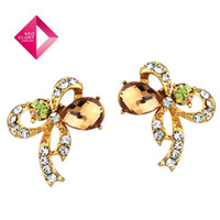 Wholesale Neoglory MADE WITH SWAROVSKI ELEMENTS Crystal K Gold Plated Crystal Jewelry Stud Earrings