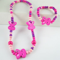 Celtic Children's Gift Lovely Rabbit Kids Necklace 100% Handmade Wood Childrens Jewelry Sets Colorful Bead Necklaces Bracelets 24SETS LOT Free Shipping KD008