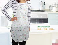 Wholesale Korean cute fashion printed satin waterproof grease PE adult aprons home kitchen essential