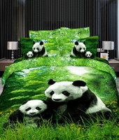 Wholesale 3d pandas in bamboo green bedding sets cotton fabric full queen comforter duvet quilt cover flat sheet pillow shams bedspread bed set pc
