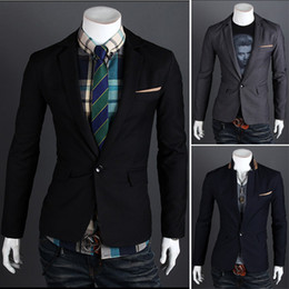 Wholesale 2013 Fashion Casual Mens Blazer Stand Collar Contrast Color Edge Pocket Single Breasted Design Men Blazer Suit