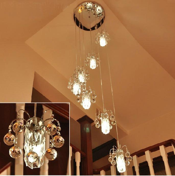 Staircase Light Long Chandelier Crystal Lamp Double Spiral