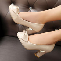 Wholesale Fashion Sexy Lady PU Leather Bow Pump Platform Dress High Heel Shoes Beige Black Blue Women s High Heels Shoes EU34