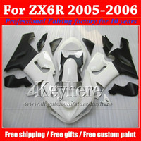 Wholesale 7 gifts ABS fairing body kit for KAWASAKI ZX R Ninja ZX6R plastic white black motobike parts ZX R with gifts gk55