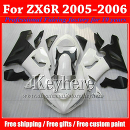 7 gifts ! ABS fairing body kit for KAWASAKI ZX 6R Ninja ZX6R 2005 2006 plastic white black motobike parts ZX-6R 05 06 with 7 gifts gk55