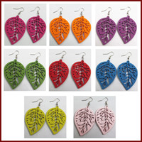 Wholesale 20pair Classic Leaves Wooden Colors Mixed Fashion Earrings New