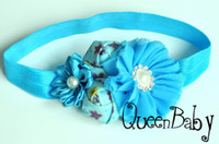 baby centre - NEW Pearl centre girl Chiffon Flowers With Double mini rose With Satin Ribbon Flower Baby Headbands