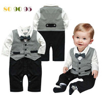 Boy Spring / Autumn cotton 11173 boys gentleman rompers baby long sleeve bodysuits kids one piece cool jumpsuits autumn clothing infant popular costume garment ttgmy