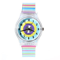 Cheap 6018 Round Shaped Blue Watch Dial Colorful Rainbow Plastic Cement Watchband Women's and Kid's Wrist Watch