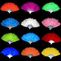 Wholesale Beautiful Marabou Feather Hand Fan Flamenco Burlesque Costume For Dance Colors