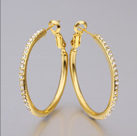 Wholesale Fashion Prom Jewelry K gold plated rhinestone crystal hoop earrings Top quality pair