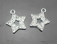 Wholesale rhinestone star hang pendant charms fit for cell phone strips
