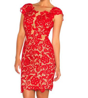 Sexy Red Lace Open Back Short Cocktail Dresses Mini Prom Dre...