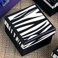 Wholesale Fashion White Black Zebra Square Paper Jewelry Package Present Gift Box Case