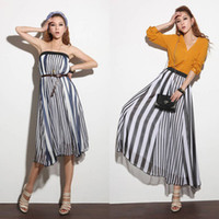 Strapless Ankle Length Ball Gown Casual Womens Long Skirts Irregular Stripes Full Length Maxi Chiffon Dress