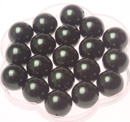 Wholesale Chunky Pearl Wholesale - Black 20mm Acrylic pearl beads 110 pcs lot free shipping for Chunky Necklace A40