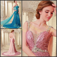 Wholesale Amazing Sequin Beaded Ribbon Sweetheart Mermaid Sleeveless Court Train Prom Gowns Evening Dresses A960