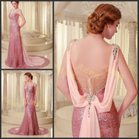 Real Photos a960 - Pink Sequin Pleated Crystals Ribbon Sweetheart Mermaid Sleeveless Court Train Prom Gowns Evening Dresses A960