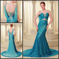 Wholesale Attractive Backless Light Blue Sequin Crystals Ribbon Sweetheart Mermaid Sleeveless Court Train Prom Gowns Evening Dresses A960