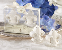 Discount salt boxes - 2pcs set,Vivid Fleur de Lis Salt and Pepper Shakers Set in Gift Box Wedding Favors and Gifts Party Favours Supplies