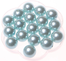 Wholesale Acrylic round mm aquamarine pearl beads for Chunky Necklace A17
