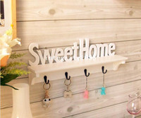 Wholesale Sweet Home Wooden Wall Shelf Storage Rack Rural Style Home Decoration Creative Gift White Color
