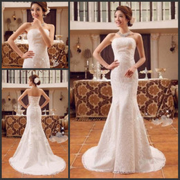 Vestidos de novia en la acción tren de la sirena sin tirantes tren de encaje de vuelta de cuentas de color blanco marfil 2015 vestidos de novia de encaje barato