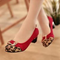 Wholesale Fashion Women s Leopar Thick low High Heels Shoes Red Black Brown sexy dress shoes EU34 EU42