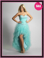 Hi-Lo A-Line Lace-up Aqua Piping Cascading Ruffle Hi Lo Prom Pageant Dresses Corset Back Short Front and Long Back Fashion 2013 Beaded Formal Beach Party Dresses
