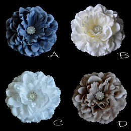 Peony Flower with Sparking Pearl Button Fabric Flower DIY Flower Flat back Photography Props 30PCS LOT QueenBaby