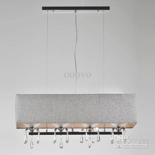 Modern Dining Room Crystal Rectangle Pendant Light Grey Fabric Lampshade Kicthen Living Polished Chrome Chain Lighting