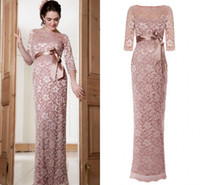 Wholesale 2014 DHgate long sleeves Maternity New Pink Color Lace A line Long Length Evening Dresses Mother of the bride Dress