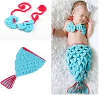 Unisex baby prop mermaid - Infant Toddler Baby Mermaid Modelling Pure Wool Hat Set Newborn Photography Props Beanies Caps Pure Handmade QS359