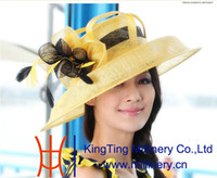 Wholesale Women church hat sinamay hat sinamay fabric winter hat wide brim hat for formal dress sinamay ribbon flower hat women hat