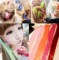 Asian Wigs Hair Pieces  Hot Fashion Women candy colors Hair Pieces Girls straight hair wigs Hair Accessories Clips Hair Extension t5606