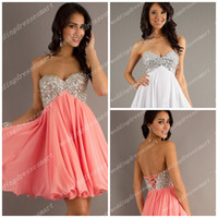 Wholesale Sweetheart Coral White Short Bling Bling Homecoming Dresses Crystals Chiffon Beaded Sequins Cocktail Length Prom Corset Party Gowns Hot