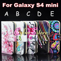 Wholesale Colorful Star Butterfly Flower Wallet PU Flip Leather Case Cover With Credit Card Slot Pouch For Samsung Galaxy S4 mini i9190