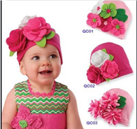 newborn crochet hats flowers - European Style Handmade Big Flower Newborn Toddler Baby Knitted Hat Autumn Winter Children Girls Caps Style QS361