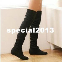 Wholesale ladies fashion flat bottomed boots over knee high leg low heels velvet ladies brand boots for women retail