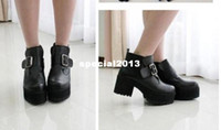 PU airmail shipping - Punk Rock Buckle Strap Chunky Heels Platform womens Ankle Boots Shoes by Regisgered Chinapost Airmail