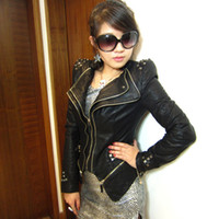 Wholesale Womens Punk Spike Studded Shoulder PU Leather Jacket Zipper Coat Size s XL New